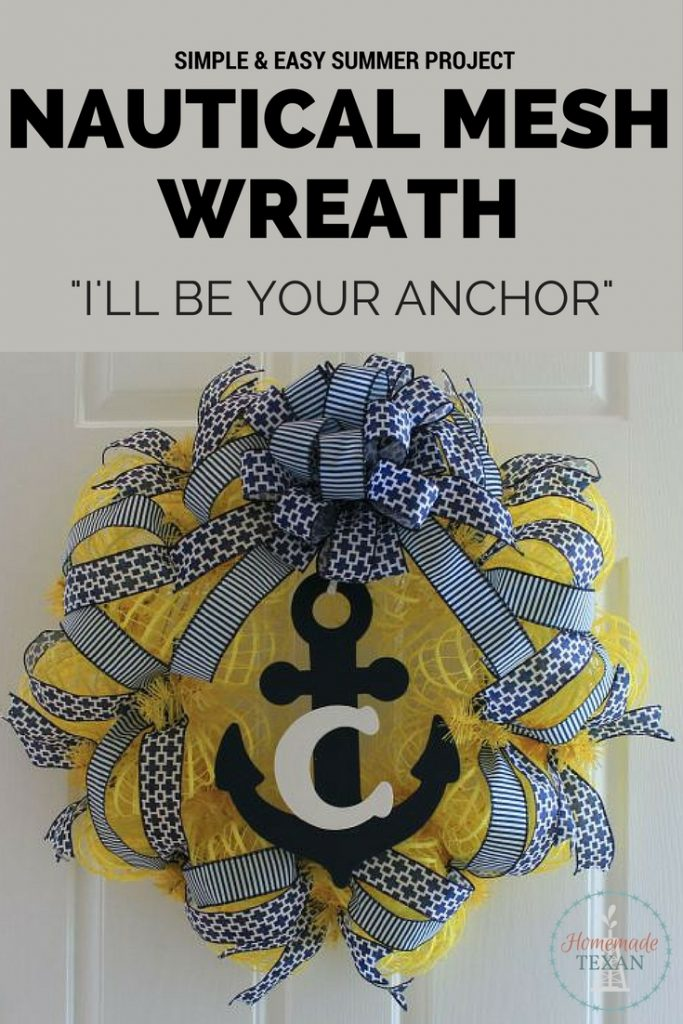 This nautical mesh wreath is a simple DIY home decor idea to make this spring or summer. It's the perfect welcoming piece for your home! Check out how to can make it!