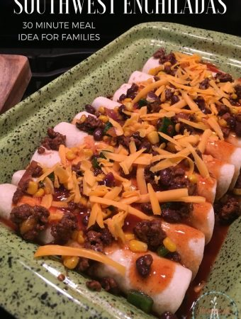 Southwest Beef Enchilada Recipe to the rescue on a busy weeknight! This super easy and delicious recipe is just what you need for busy weeknight meals!